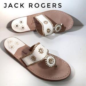 Jack Rogers Sz 12 Nantucket White Gold Sandals